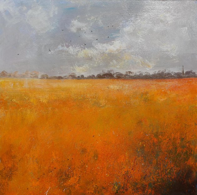 Swallows over Orange Fields. Original art by Teresa Tanner