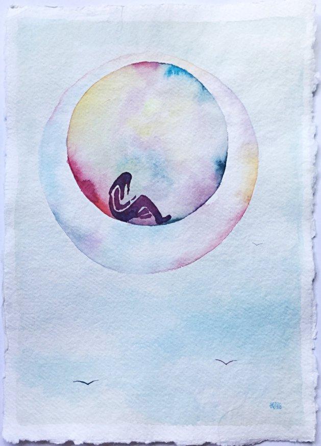 Living in a Bubble, in a Bubble. Original art by Hilary Garnock-Jones