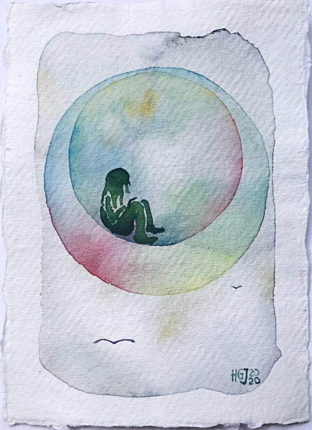 A Bubble in a Bubble. Original art by Hilary Garnock-Jones