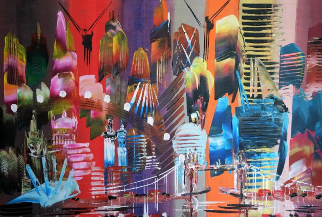 ON SALE City of London Abstract Painting 2023. Original art by Eraclis Aristidou