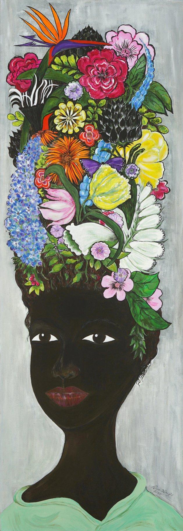 FlowerHead. Original art by Sue Wright