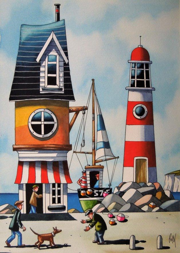 """ Cornish Light House "". Original art by Paul Kiernan"