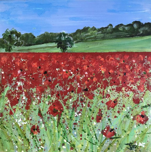 Red Poppies. Original art by Jane Brookshaw
