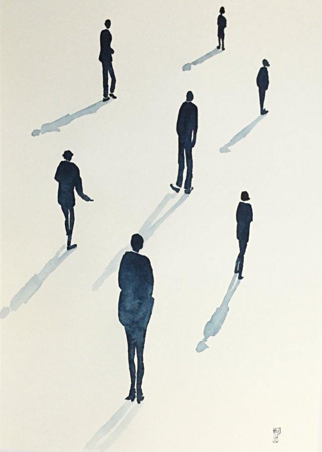 Social Distancing (iii). Original art by Hilary Garnock-Jones