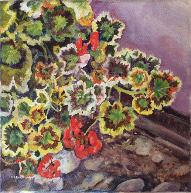 Geraniums. Original art by Mark Pender