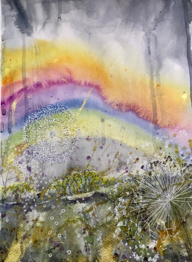 Rainbow & Wild Flowers. Original art by Yvette Rawson