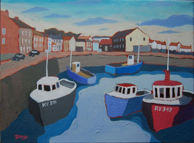 Pittenweem Harbour. Original art by Randle Drury