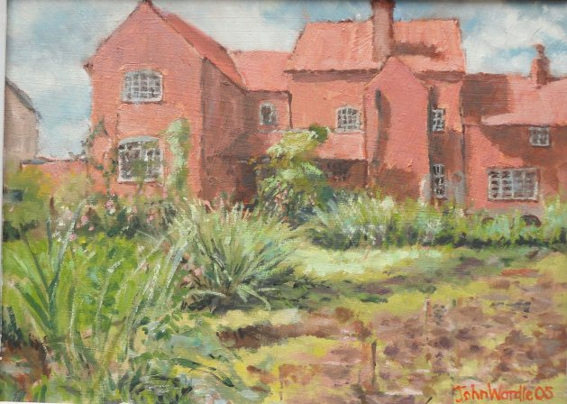Old Hall and Pond. Original art by John Wardle