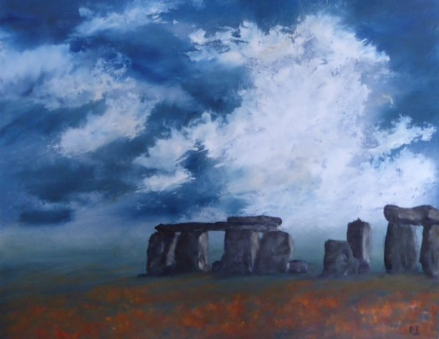 Mystical Day Stonehenge. Original art by Christine Ingram