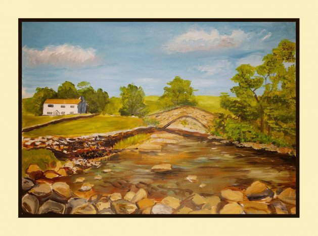Yorkshire Dales River Scene. Original art by Andi Williams