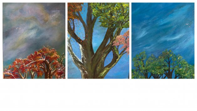 Triptych of Seasonal Trees. Original art by Allison Murphy