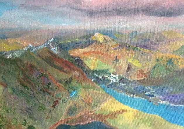 Snowdonia: After the snow.. Original art by Allison Murphy