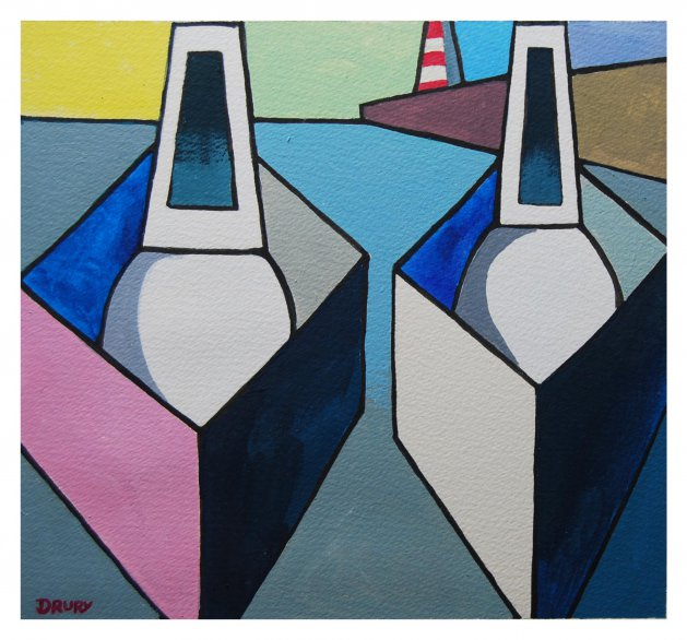 2 Boats Abstract. Original art by Randle Drury