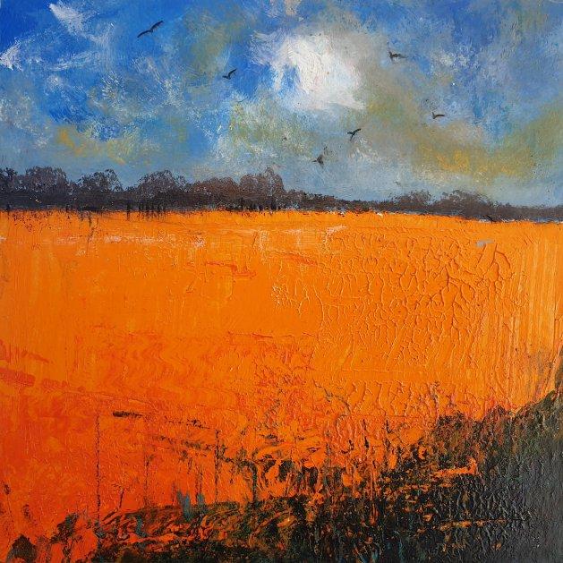 Seasons – Orange Field, Swallows. Original art by Teresa Tanner