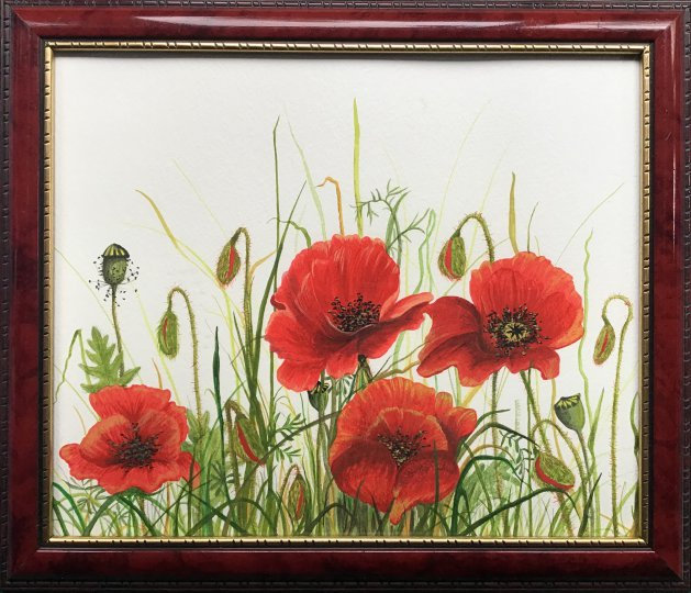 Poppies. Original art by Janet Blower