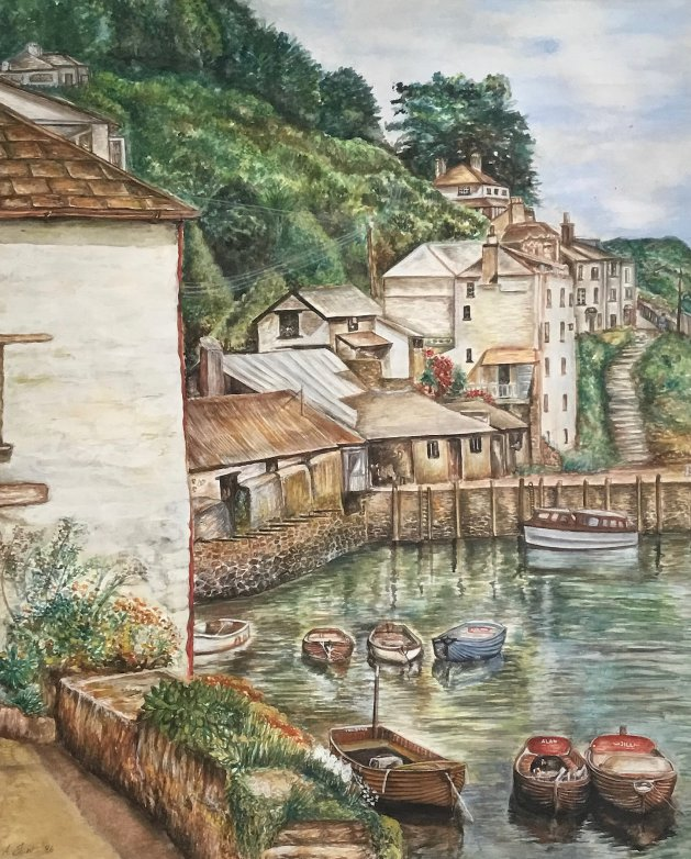 Polperro Harbour. Original art by Andi Williams