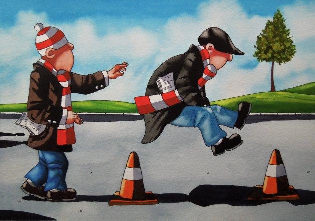 """"""" Match Day Mischief """". Original art by Paul Kiernan"""
