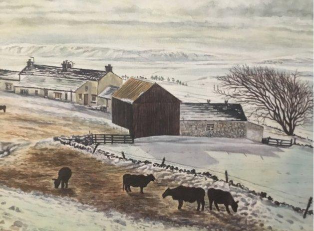 Teesdale Farm Scene Winter. Original art by Andi Williams