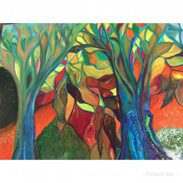 Stained glass trees. Original art by Allison Murphy