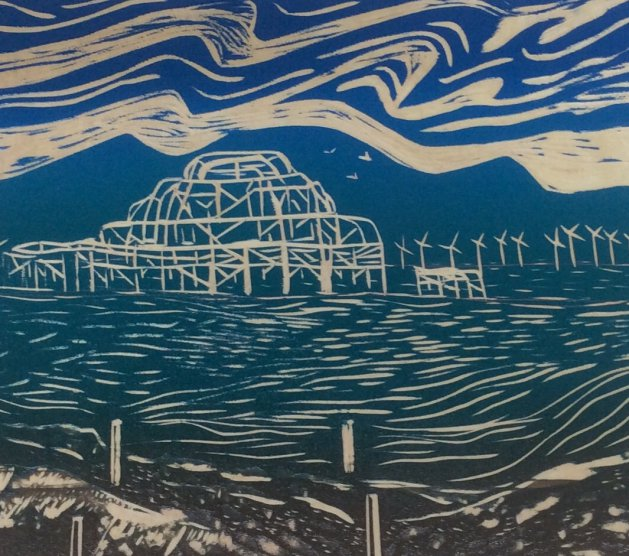 Old and New Technologies: West Pier, Brighton. Original art by Allison Murphy