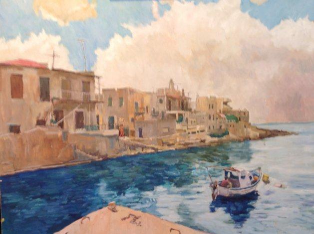 Greek Fishing Port. Original art by John Wardle