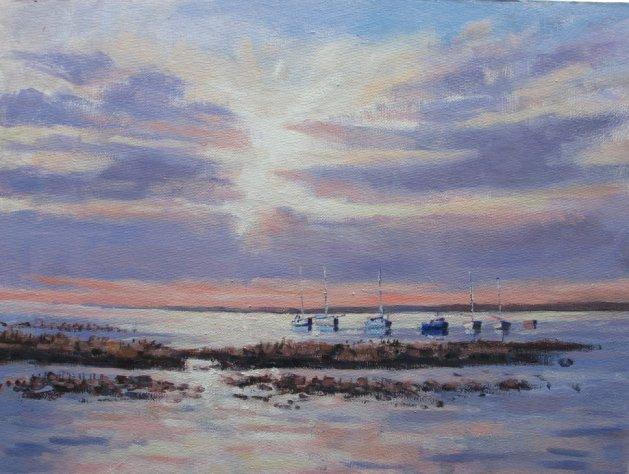 Wells  Marsh Sunrise. Original art by Stuart Peters