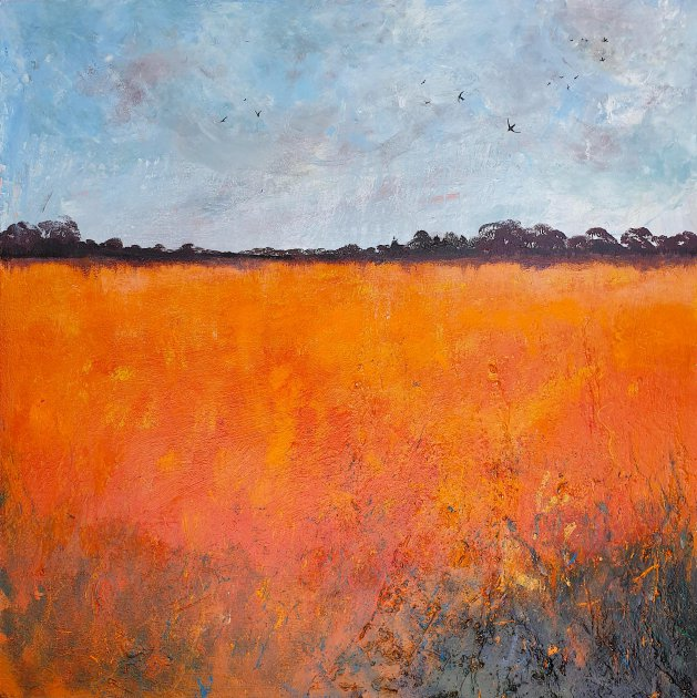 Heat Haze over Orange Fields, Swallows. Original art by Teresa Tanner