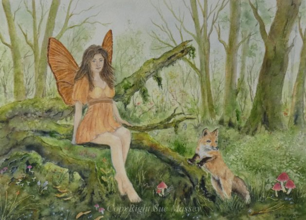 The Fairy & the Fox.. Original art by Sue Massey
