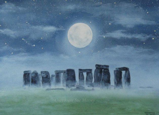 Stonehenge.. Original art by Sue Massey
