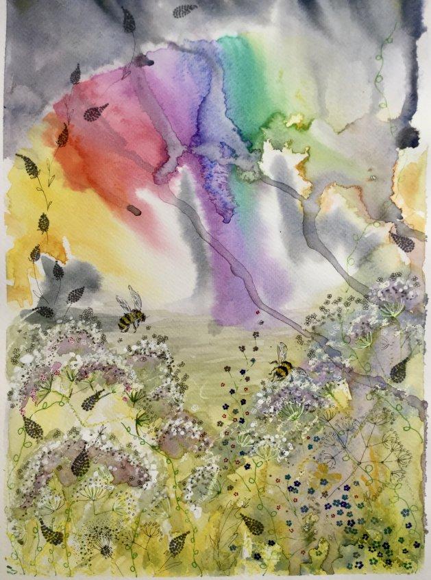 Rainbow, Wild Flowers and Bees. Original art by Yvette Rawson