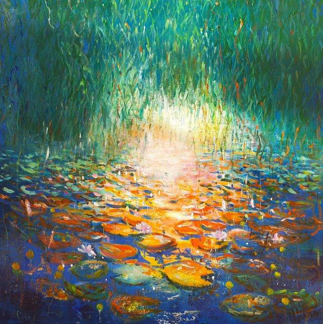 Waterlily Pond under Weeping Willow. Original art by Teresa Tanner