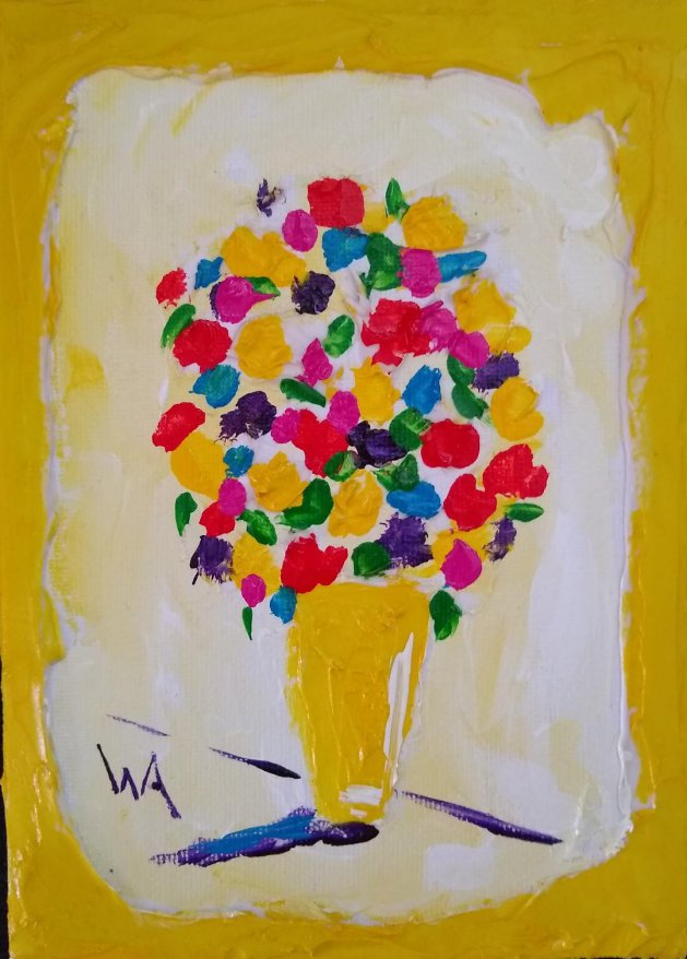 Yellow Vase, Yellow Frame. Original art by Warren Armstrong
