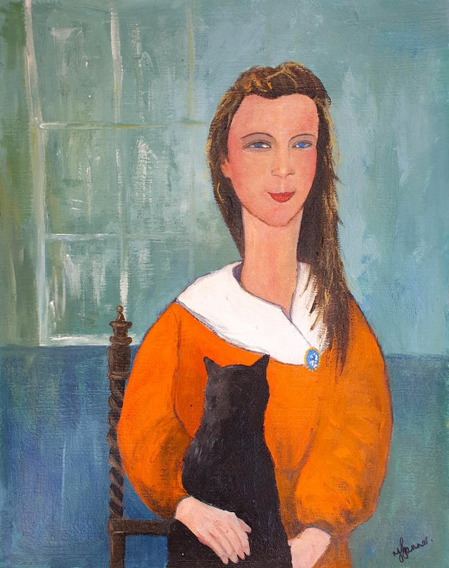 Girl Black Cat and Cameo. Original art by Teresa Tanner