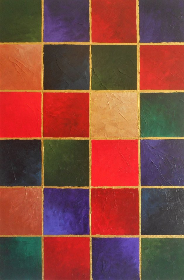 Original Geometric Box Canvas Painting, 20 by 30 inch (SQUARE SIGHT A). Original art by Phil Smith