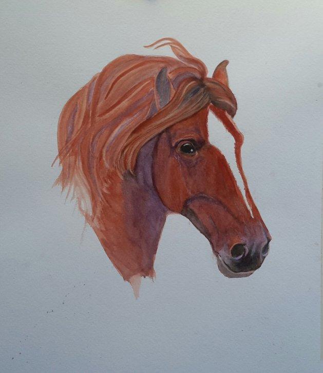 Chestnut horse. Original art by Denny Aitch
