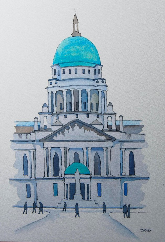 City Hall, Belfast.. Original art by Randle Drury