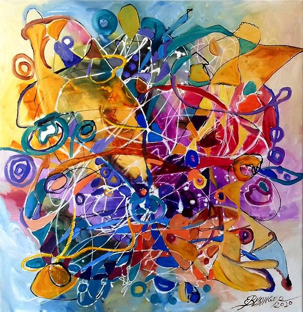 abstract Primul zbor, Bissinger. Original art by Elena Bissinger