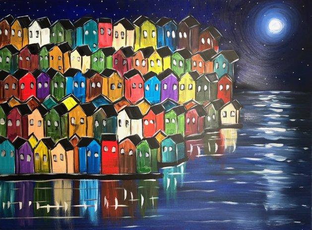 Rainbow Houses 7. Original art by Aisha Haider