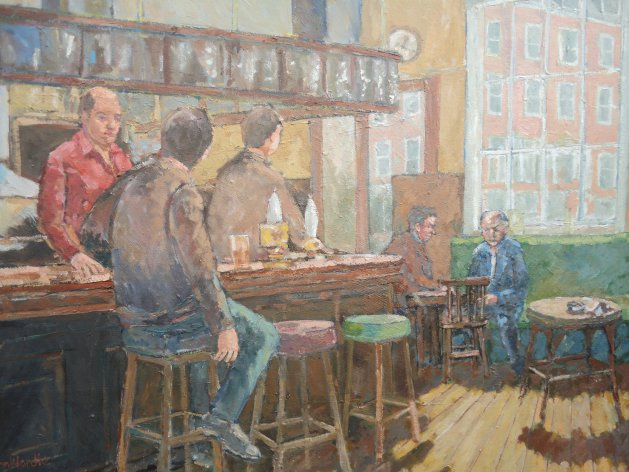 Lunchtime in a Chelsea Pub. Original art by John Wardle