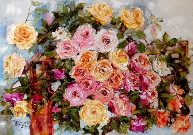 roze dincolo de gard, Bissinger. Original art by Elena Bissinger