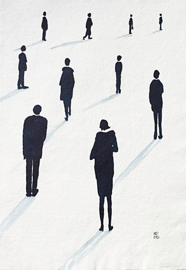 Social Distancing (ix). Original art by Hilary Garnock-Jones