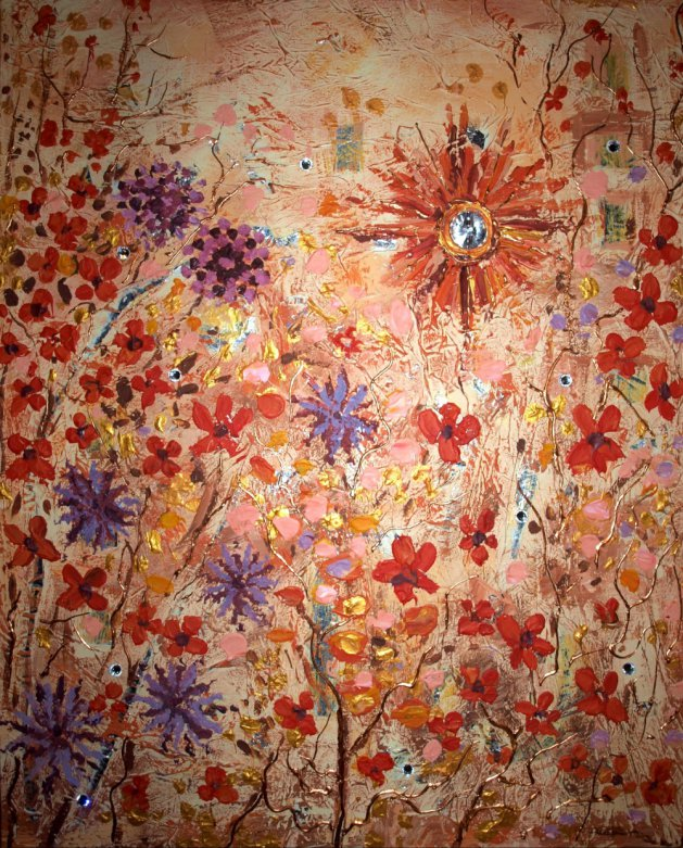 Sunny Flowers. Original art by Andi Williams