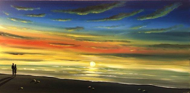 Watching the Sunset. Original art by Aisha Haider