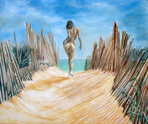 Private Beach. Original art by David Snook