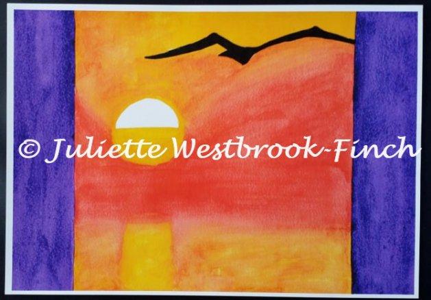 SEAGUL SUNSET A4 Print + Poem. Original art by Juliette Westbrook-Finch