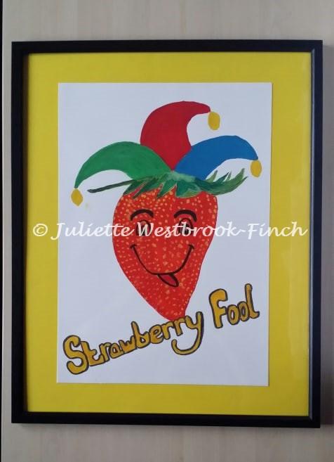 STRAWBERRY FOOL (Framed Original). Original art by Juliette Westbrook-Finch
