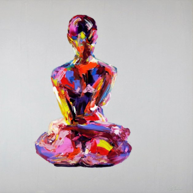 Yoga Nude Pose Painting 836. Original art by Eraclis Aristidou