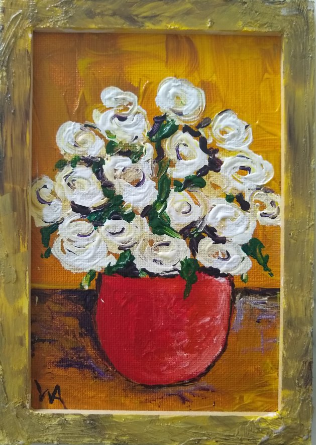 White Flowers, red vase. Original art by Warren Armstrong