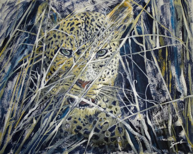 Leopard watching. Original art by David Snook