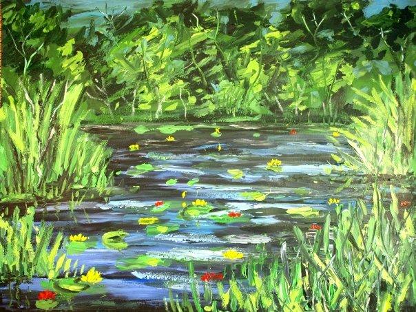 Waterlily Pond. Original art by Andi Williams